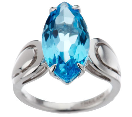 5.60 ct tw Marquise Swiss BlueTopaz Sterling Ring