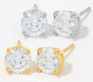 Diamonique 100-Facet Stud Earrings, Platinum Clad