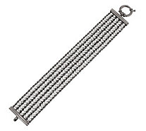 "Vicenza Silver Sterling 6-3/4"" Multi-strand Diamonique & Rope Bracelet - J269008"