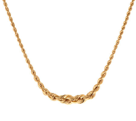"18"" Graduated Rope Necklace 14K Gold 2.6 grams"