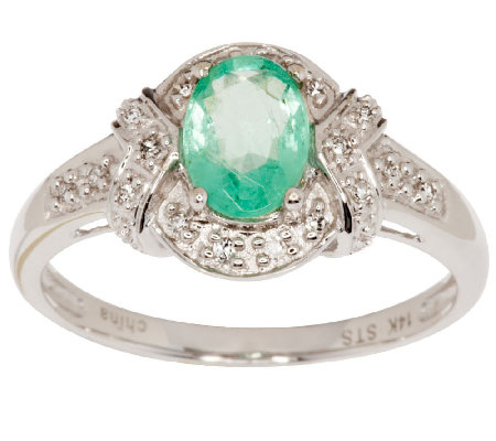 0.60 ct Siberian Mint Emerald & Diamond Accent Ring, 14K