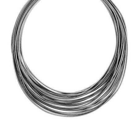 "Vicenza Silver Sterling 18"" Multi-strand Graduated Omega Necklace"