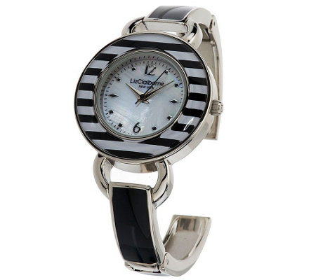 Liz Claiborne New York Bangle Watch with Striped Bezel