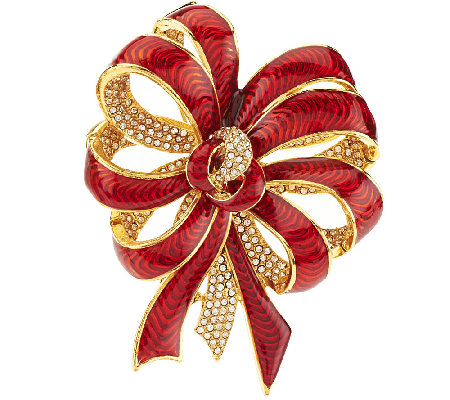 Joan Rivers Pave' and Enamel Ribbon Pin