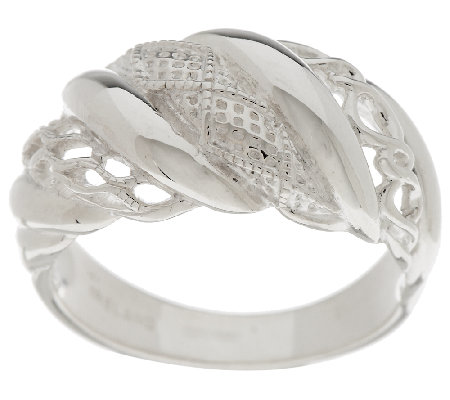 Solvar Sterling Silver Aran Stitch Ring