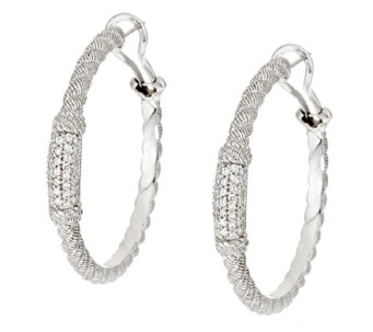 Judith Ripka Sterling Diamonique Pave' Hoop Earrings - J295208