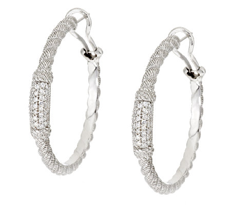 Judith Ripka Sterling Diamonique Pave' Hoop Earrings