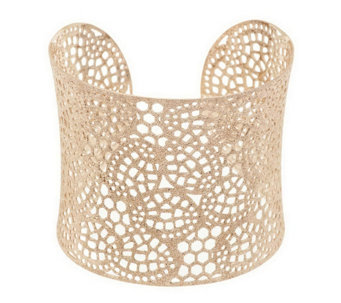 """As Is"" Sterling Large Openwork Lace Design Cuff, 30.0g - J295708"