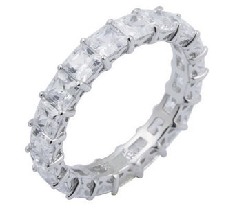 Diamonique 4.90 cttw Princess Cut Eternity Ring , Platinum Cla - J297708