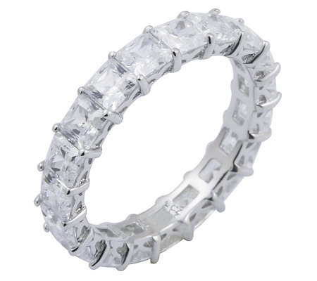 Diamonique 4.90 cttw Princess Cut Eternity Ring , Platinum Cla
