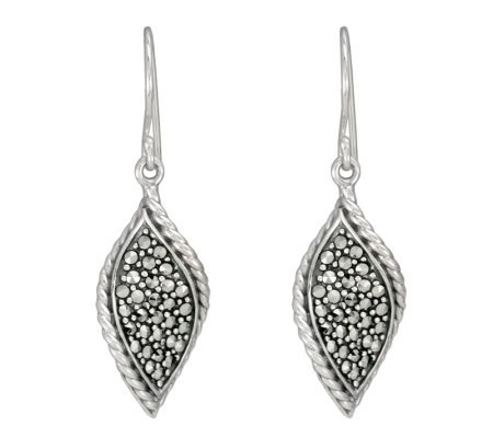 Suspicion Sterling Marcasite Twisted Dangle Earrings