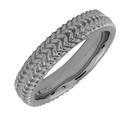 Simply Stacks Sterling Black Rhodium-Plated Zigzag 4.25mm Rin
