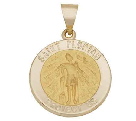 Choice of Round Saint Pendant, 14K Gold