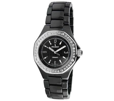 Peugeot Women's Swiss Ceramic Swarovski CrystalAccent Watch