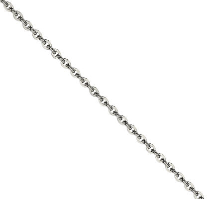 "Stainless Steel 2.30mm 22"" Cable Chain Necklace"