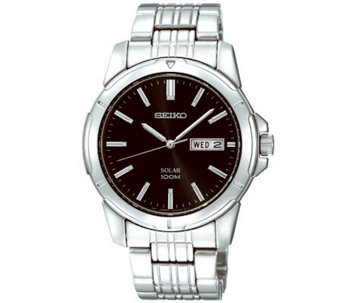 Seiko Men's Stainless Steel Black Dial Analog Watch - J309108