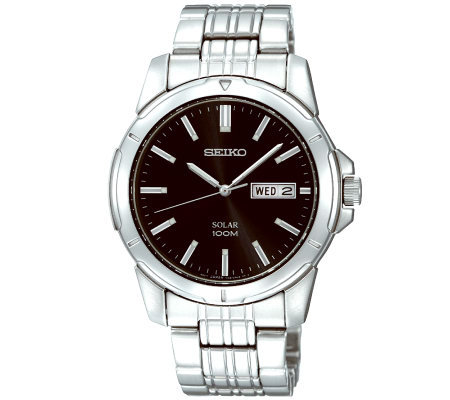 Seiko Men's Stainless Steel Black Dial Analog Watch