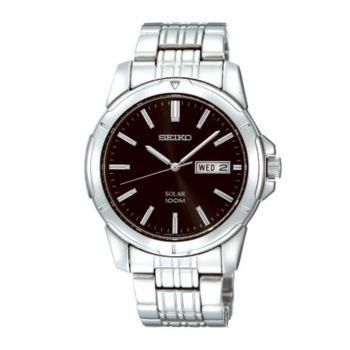 Seiko Men's Stainless Steel Black Dial Analog Watch