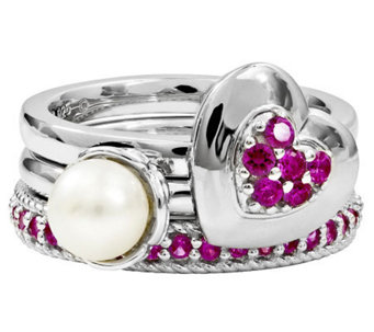 Simply Stacks Sterling Simulated Ruby Ring Set - J310008