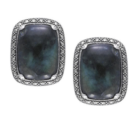 Suspicion Marcasite Labradorite Black Onyx Earrings, Sterl