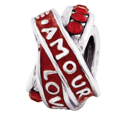 "Prerogatives Sterling Red ""Love.Amour"" Knot Bead"