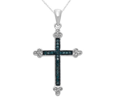 Blue diamond cross pendant sterling 18 cttwby affinity qvc blue diamond cross pendant sterling 18 cttwby affinity mozeypictures Choice Image