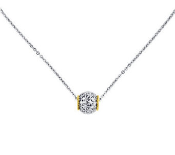 "Sterling with 14K Gold 17"" Diamond-Cut Floral Barrel Necklace - J311308"