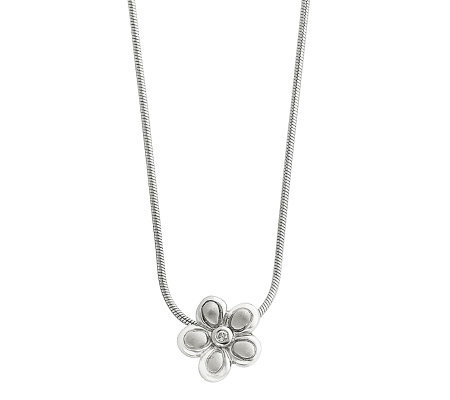 "Sterling Diamond Accent Satin Flower Pendant w/18"" Chain"