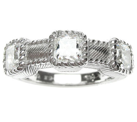Judith Ripka Sterling Diamonique 3-Stone Band R ing