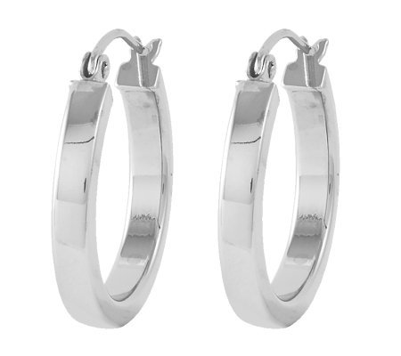 "Sterling 3/4"" Square Tube Round Hoop Earrings"