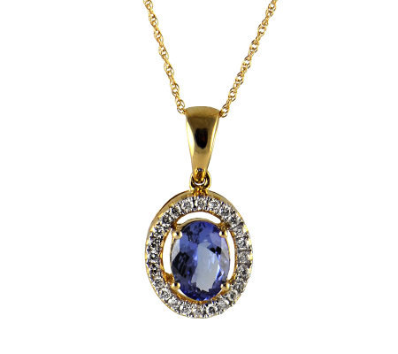Oval Tanzanite & 1/5 cttw Diamond Pendant, 14KGold