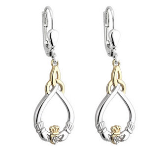 Solvar Sterling & 10K Diamond Accent Claddagh Earrings - J315608