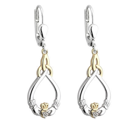 Solvar Sterling & 10K Diamond Accent Claddagh Earrings