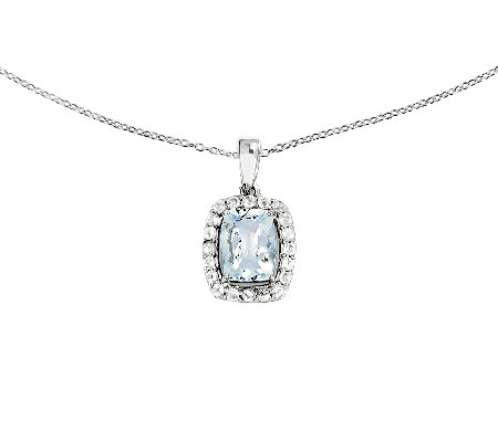 "Sterling Rectangular Aquamarine Halo Pendant with 18"" Chain"