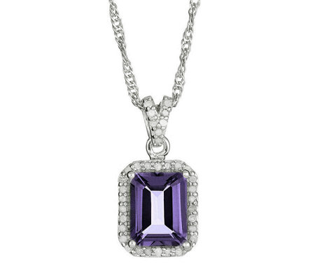 Sterling Gemstone & 1/8 cttw Diamond Pendant with Chain