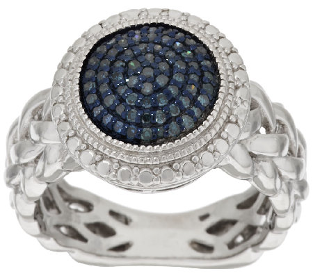 Round Pave' Color Diamond Ring, Sterling, 1/4 cttw, by Affinity