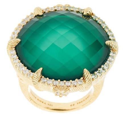 Judith Ripka Eclipse Stering & 14K Clad Green Doublet Ring