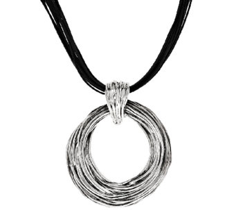 Sterling Silver Bold Textured Pendant on Leather Cord by Or Paz - J317908