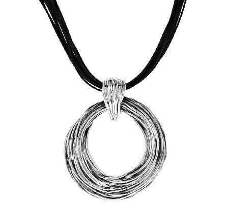 Sterling Silver Bold Textured Pendant on Leather Cord by Or Paz