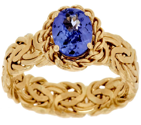 """As Is"" 14K Gold 1.00 ct Tanzanite Byzantine Ring"
