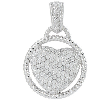 Judith Ripka Sterling 0.34 ct Pave Diamonique Heart Enhancer