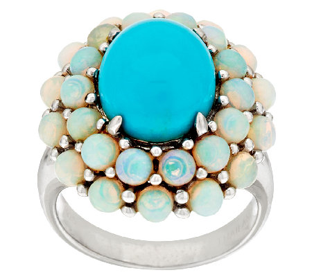 """As Is"" Sleeping Beauty Turquoise & Ethiopian Opal Cluster Ring"