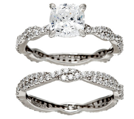 Diamonique 100-Facet 2-Piece Ring Set, Platinum Clad