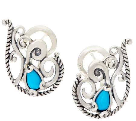 Carolyn Pollack Sleeping Beauty Turquoise Sterling Scroll Earrings