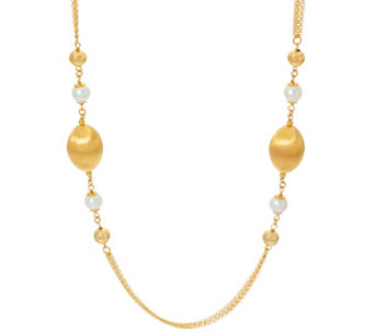 "Veronese 18K Clad 24"" Gemstone & Satin Station Necklace - J324108"