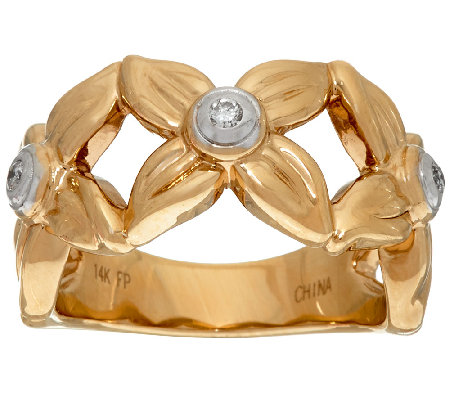 14K Gold Diamond Textured Open Work Flower Ring