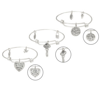 Extraordinary Life Set of 3 Sterling Silver Charm Bangles with Gift Boxes - J326008
