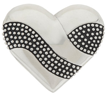 """As Is"" Stainless Steel Textured & Polished Heart Slide - J326708"