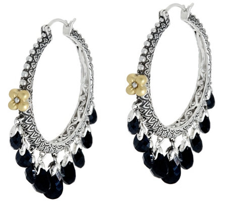 Barbara Bixby Sterling & 18K Briolette Gemstone Hoop Earrings