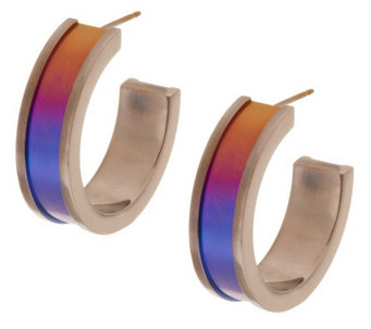 """As Is"" Mirell Titanium 1-1/2"" Colored Hoop Earrings - J328208"